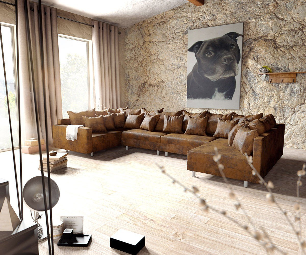 Couch Clovis Xl Braun Antik Optik Mit Armlehne Wohnlandschaft