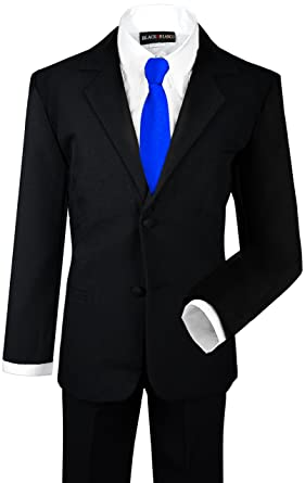 Black N Bianco Boys Formal Black Suit with Shirt and Vest (Small 3-6
