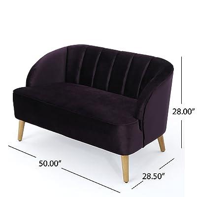 Christopher Knight Home 303509 Amaia Velvet Sofa, Blackberry/Walnut