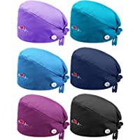 SATINIOR 6 Pieces Gourd-Shaped Caps with Buttons Adjustable Bouffant Turban Hats Breathable Unisex Tie Back Caps