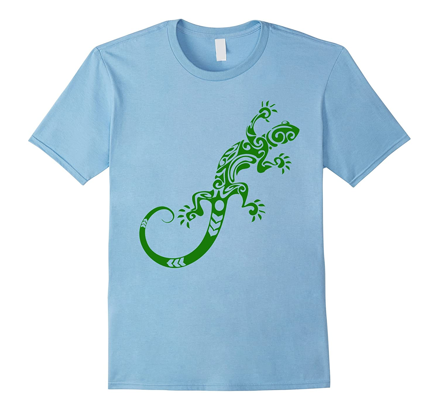 Lizard Green Tribal Pattern T-shirt Pet Gecko Animal Tee-TH