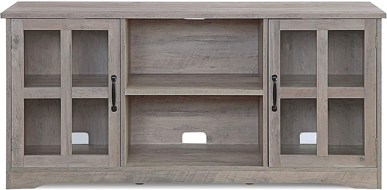 BELLEZE Cori 52 Inch TV Stand Wood and Glass Console for TVs Up to 60