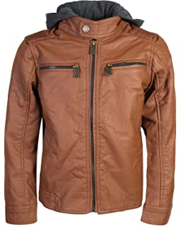 870e420792be Amazon.com  Urban Republic Boys Faux Leather Biker hooded Jacket ...
