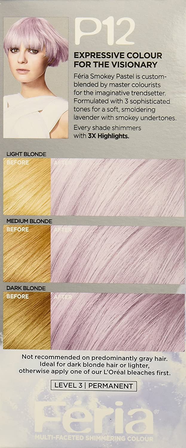 The look at home using l oreal paris feria smokey pastels in p2 smokey - Amazon Com L Or Al Paris Feria Pastels Hair Color P12 Lavender Dusk Smokey Lavender Beauty