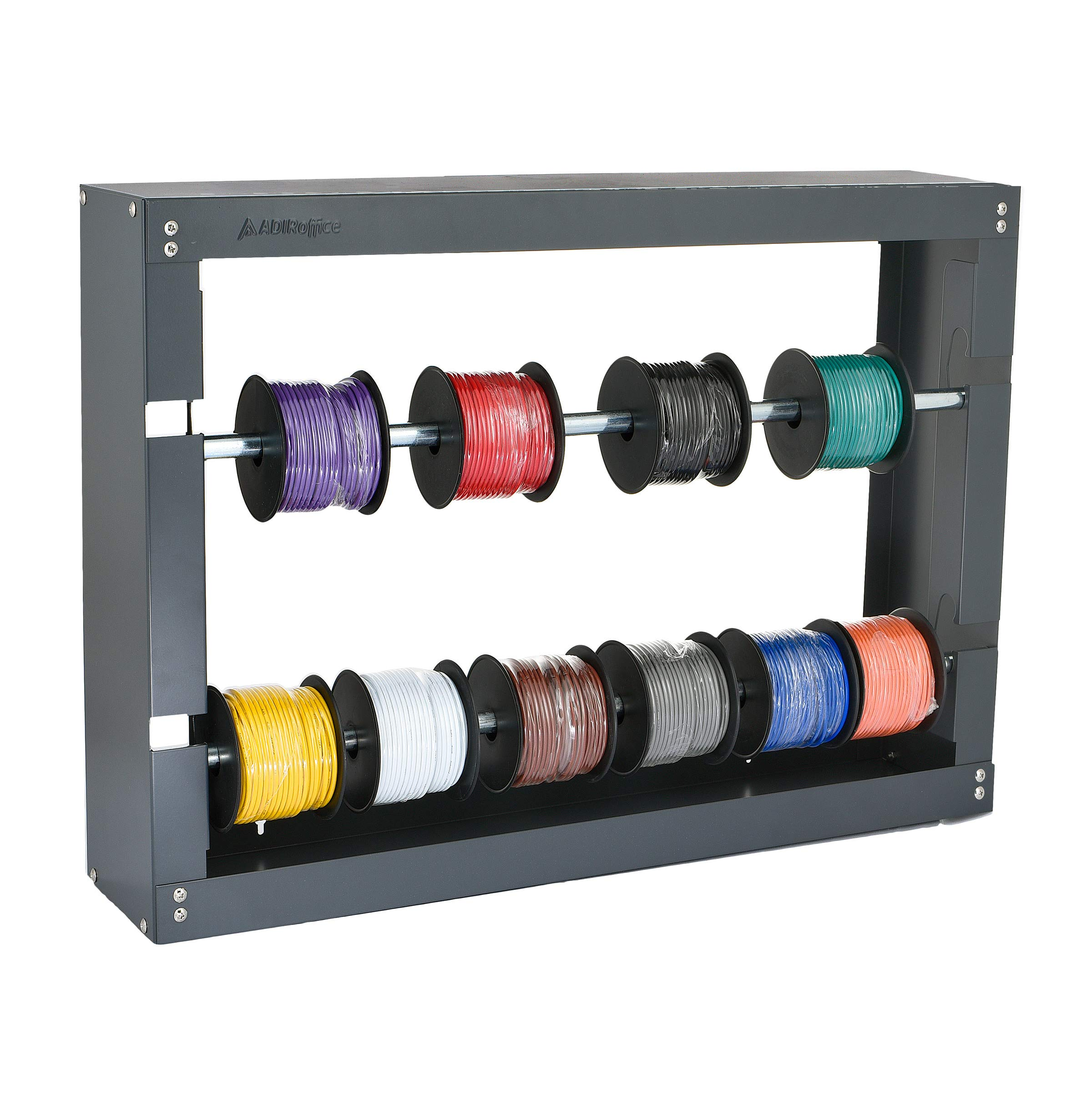 AdirPro Wire Spool Rack - Superior Strength Wire/Cable Dispenser - Conduit Display & Storage for Electrical Industrial & Retail Use (2 Rods, Grey)