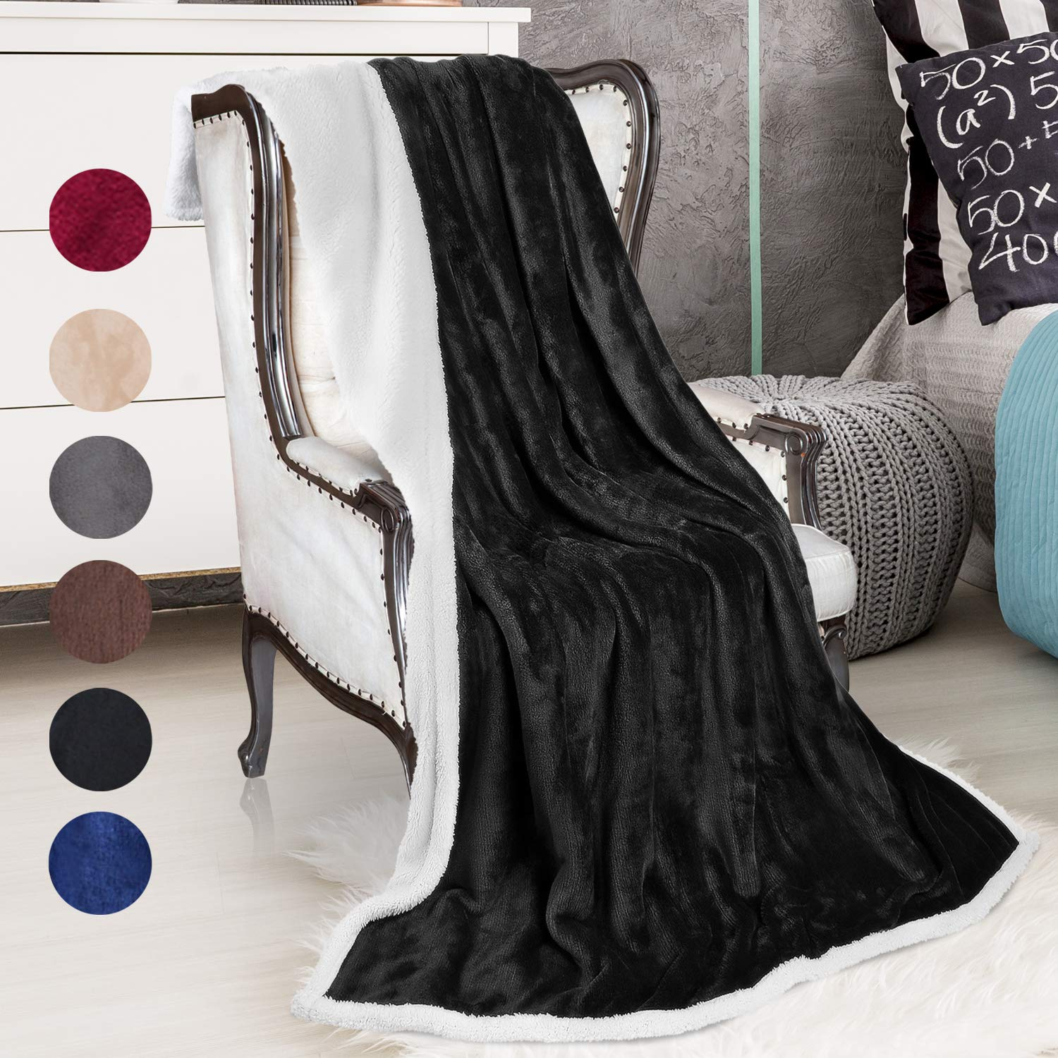 Sherpa Throws Blanket,Super Soft Comfy Micro Mink Flush Fleece Couch  Blanket Reversible Bed Throw TV Blanket,Comfort Caring Gift 50 x 60 Black
