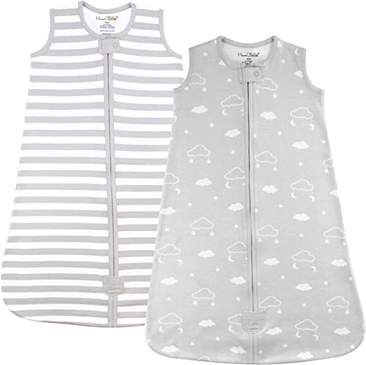 Baby Wearable Blanket, Organic Cotton Sleep Bag, Sleeping Sack with 2-Way Zipper, Medium (6-12 Months)