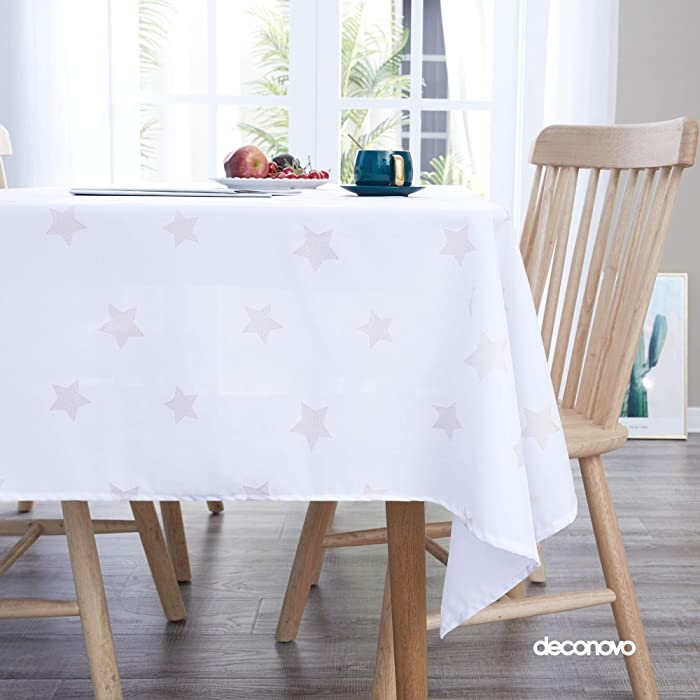 Deconovo Printed Stars Pattern Tablecloth Decorative Wrinkle Resistant Oxford Table Cloth for Dining Room 54x84 Inch White