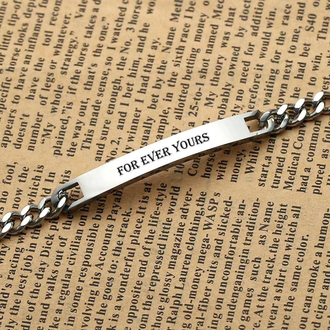 Jovivi Bracelet Couple Amoureux Gravure Personnalis/ée Poli ID Gourmette Lien Poignet Curb Cha/îne de Main Acier Inoxydable Cadeau pour la Saint-Valentin