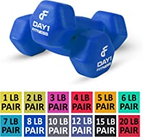 Neoprene Dumbbell Pairs by Day 1 Fitness - 12 Sizes (1, 2, 3, 4, 5, 6, 7, 8, 10, 12, 15, & 20 Lb Sets) - Non-Slip,...