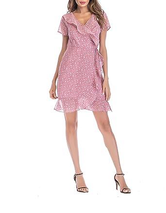 fbe45990d167 SUNNOW Women s Casual Summer V-Neck Beach Irregular Bow Wrap Short Dress  with Belt (