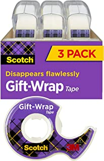 product image for Scotch Gift Wrap Tape, 3 Rolls, The Go-To Tape for the Holidays, 3/4 x 300 Inches, Dispensered (311)