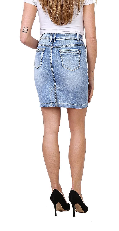 4e159f32db41d0 Onado Jupe Femme en Jeans Mini Jupe Crayon Casual Courte Stretch Taille 36  au 44