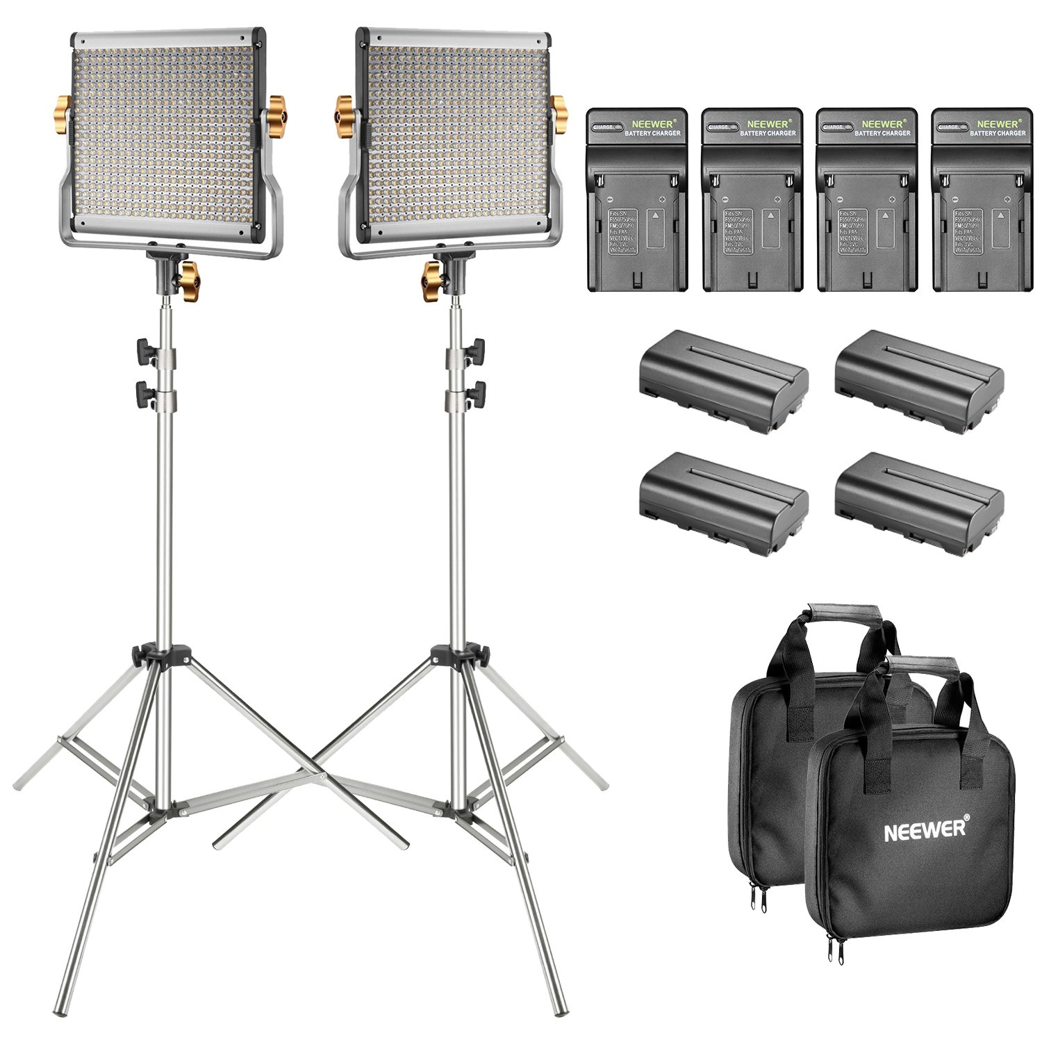 Neewer 2-Pack Bi-color Dimmable 480 LED Video Light and Stand Lighting Kit with 4-Pack Battery and Charger - 3200-5600K,CRI 96+ LED Panel with U Bracket for Camera Photo Studio, YouTube Video Shooting by Neewer