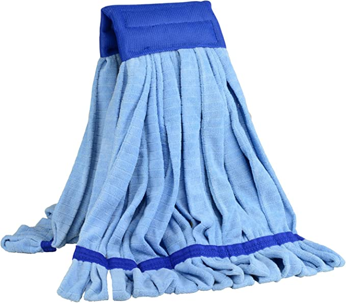 Large Microfiber Tube Mop 18 Oz Commercial Wet Mop Head Replacement Dries 3x Faster Than Cotton String Mops Industrial Machine Washable Refill Blue Home Kitchen