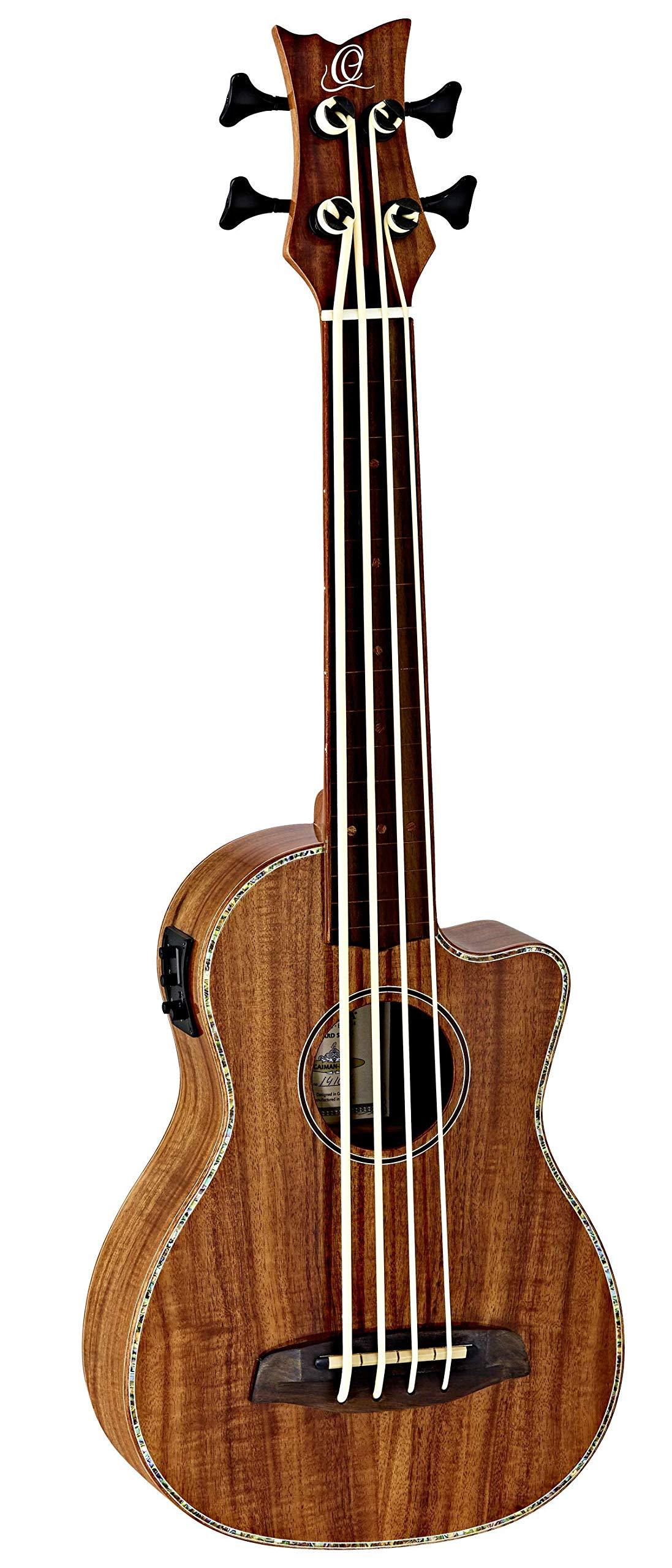 Ortega Guitars 4 String Caiman-FL-GB Lizard Series Fretless Uke-Bass Acacia Top & Body, Cutaway & Built-in Pickup, Includes Gig Bag