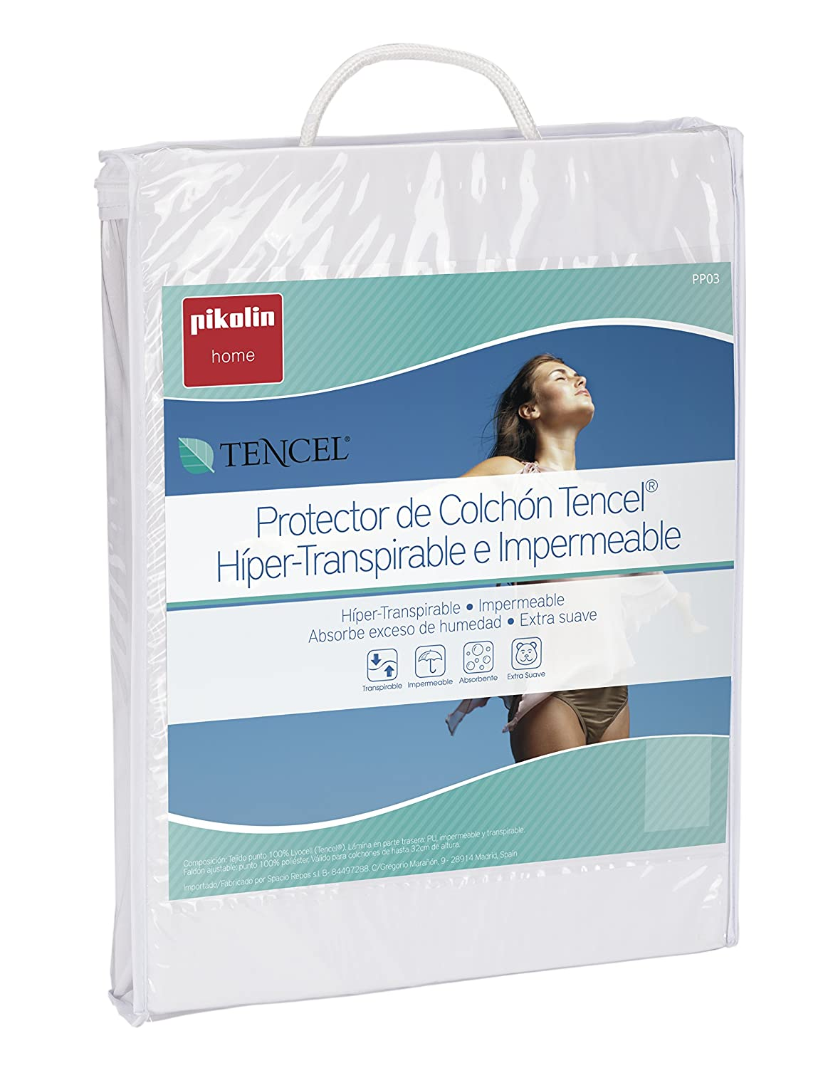 Pikolin Home - Protector de Colchón Lyocell, Híper-transpirable e Impermeable, Color Blanco, 90 x 190/200 cm, Cama 90 cm: Amazon.es: Hogar