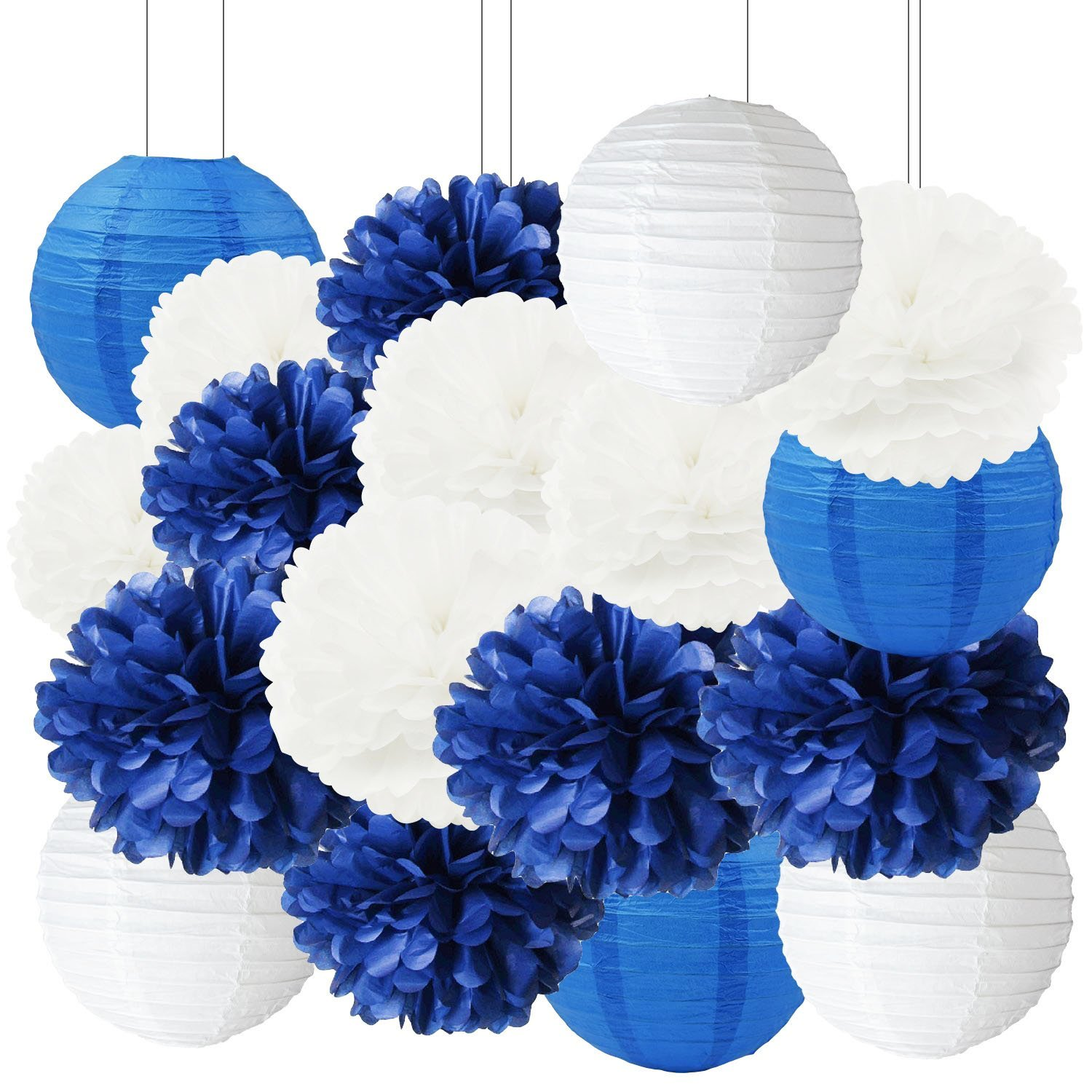 Furuix 18pcs White Navy Blue Tissue Paper Pom Poms Paper Lanterns 8inch 10inch 12inch Mixed Package for Nautical Mediterranean Themed Party Wedding Paper Garland, Bridal Shower Decorations Baby Shower Nursery Decoration