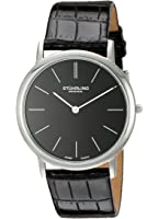Stuhrling Men's 601.33151 Ascot Swiss Quartz Ultra Thin Black Alligator-Embossed Leather Strap Watch