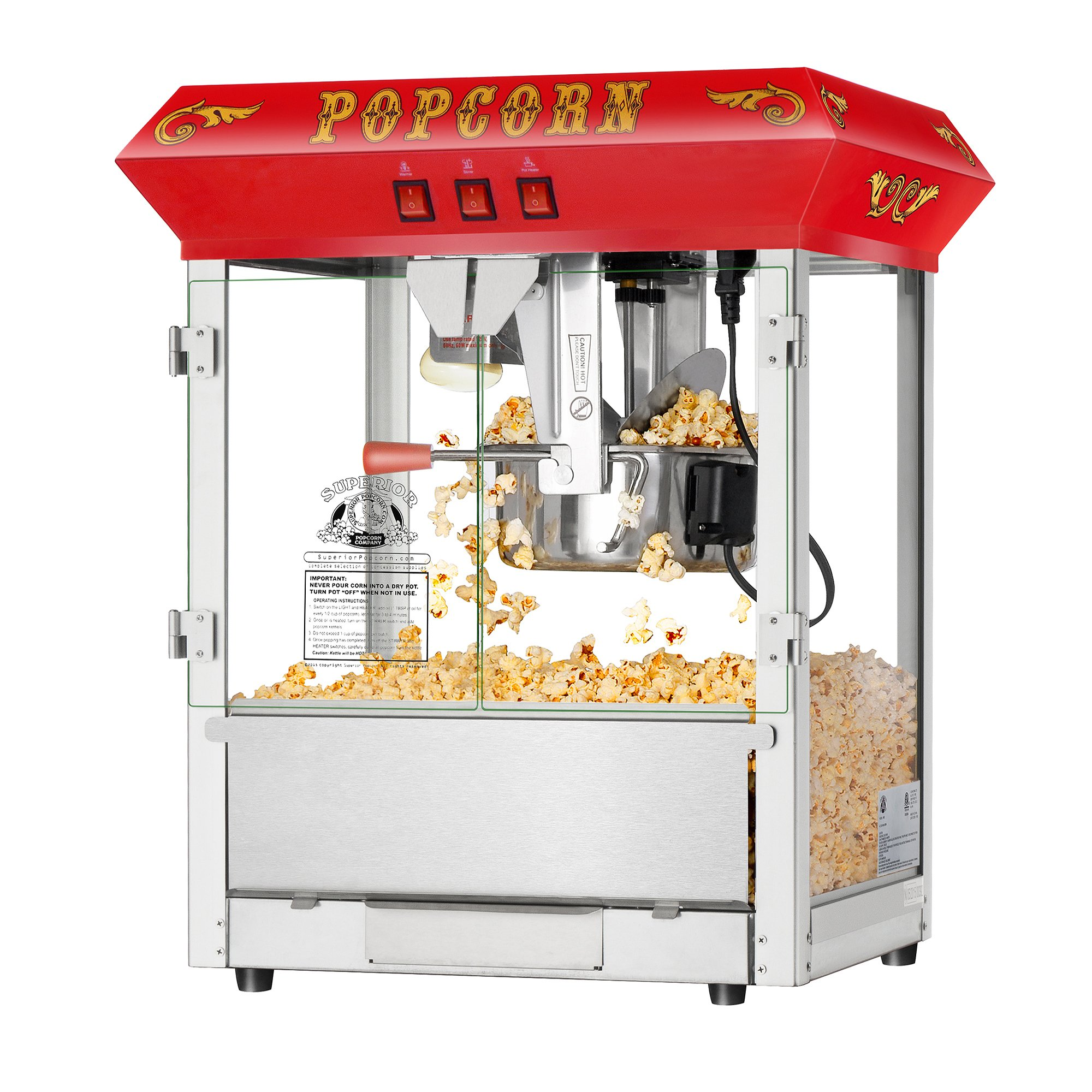 Superior Popcorn Company 4625 Hot and Fresh Countertop Style Popper Machine, 8 oz, Red