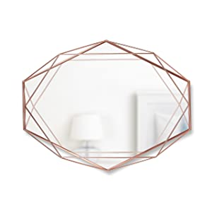 Umbra Prisma Wall Mirror - Modern Geometric Shaped Oval Mirror for Living Room, Bedroom, Bathroom, Dining Room - This Wall Mirrors Decorative Design Can Be Mounted Vertically or Horizontally, Copper