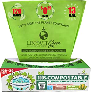 100% Compostable Trash Bags, 13 Gallon, 49.2 Liter, 120 Count, Extra Thick 0.87 mils Biodegradable Garbage Bags, Tall Kitchen Trash Bags, Food Yard Waste Bags, US BPI and Europe OK Compost Home