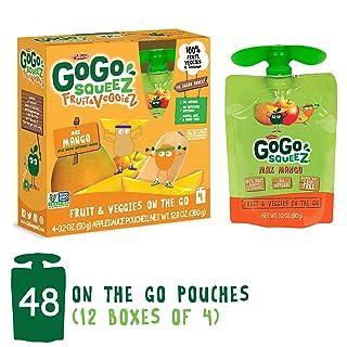 GoGo squeeZ Fruit & VeggieZ on the Go, Apple Mango Butternut Squash, 3.2 Ounce (48 Pouches), Gluten Free, Vegan Friendly, Healthy Snacks, Unsweetened, Recloseable, BPA Free Pouches