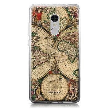 CASEiLIKE Funda Redmi Note 4, Carcasa Xiaomi Redmi Note 4, Mapa del Mundo de la Vendimia 4607, TPU Gel Silicone Protectora Cover