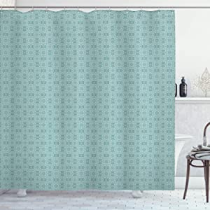 """Ambesonne Moroccan Shower Curtain, Vintage Round Floral Pattern with Ornaments Moroccan Style Monochromic Design Print, Cloth Fabric Bathroom Decor Set with Hooks, 70"""" Long, Teal"""
