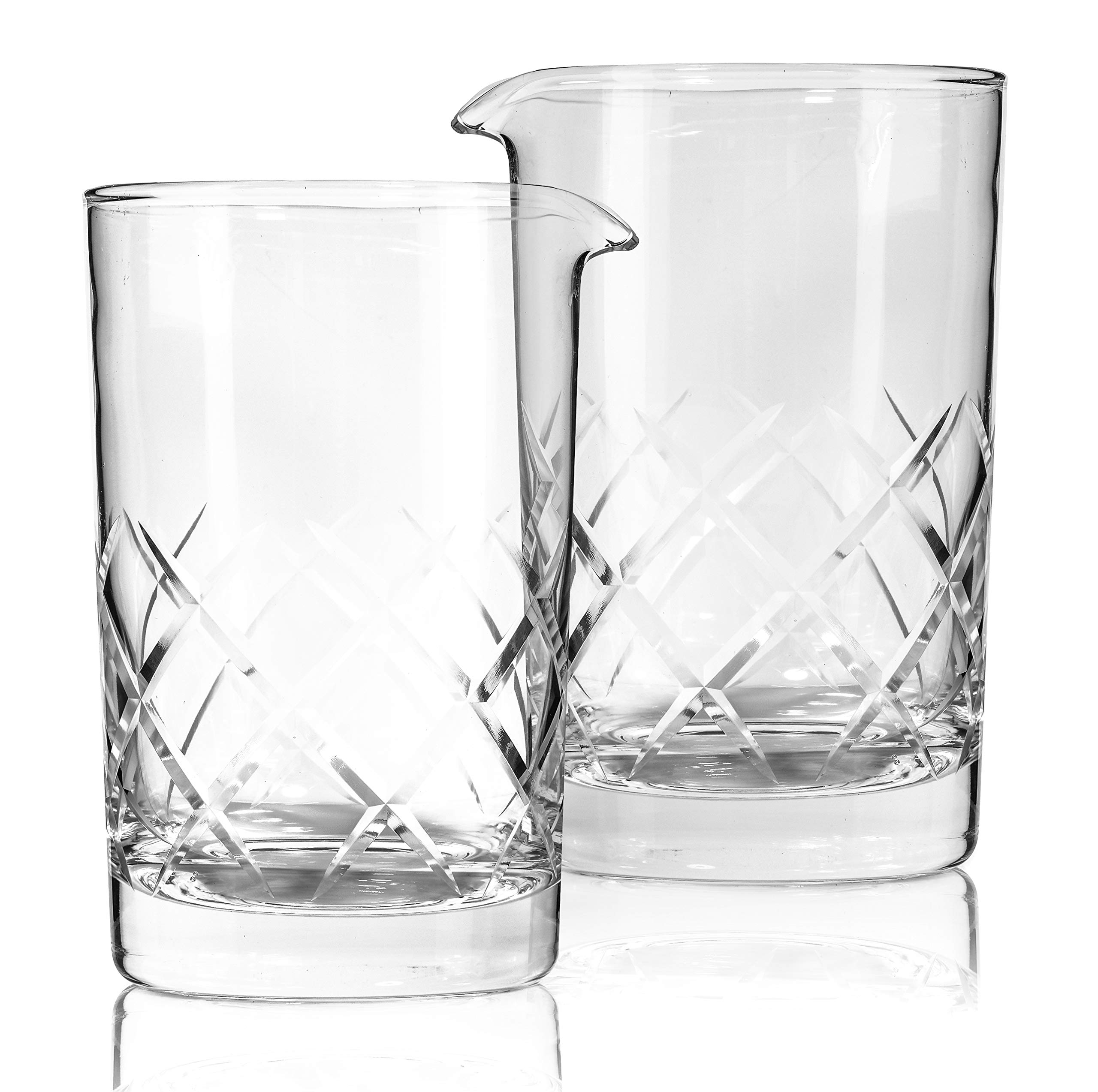Set of 2 Cocktail Mixing Glass - Thick Weighted Bottom - Large 24oz 700ml by Bezrat