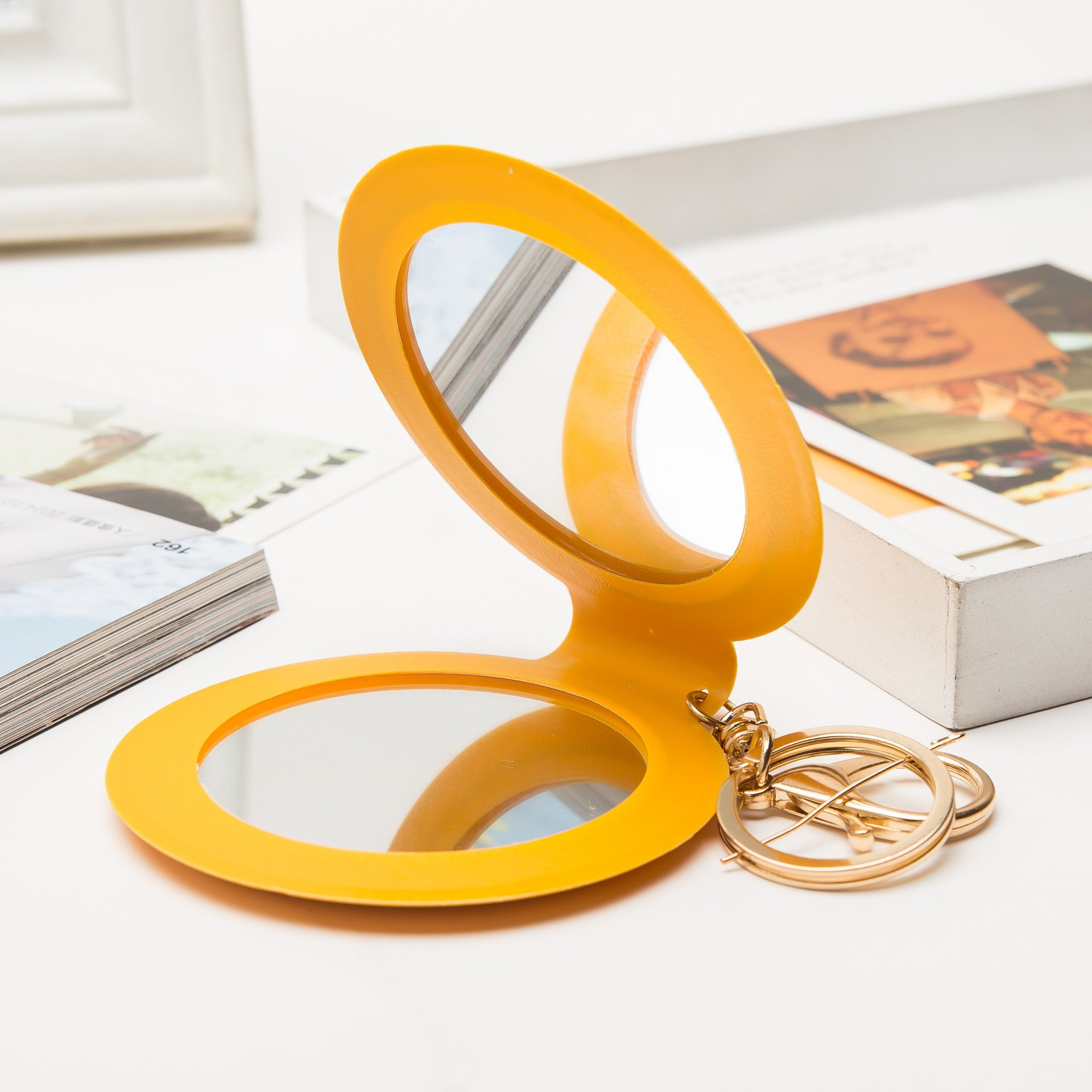 YChoice Cute Baby Toy Mini Round Double Side Small Glass Mirrors Circles for Makeup Decoration Cosmetic Accessory Yellow