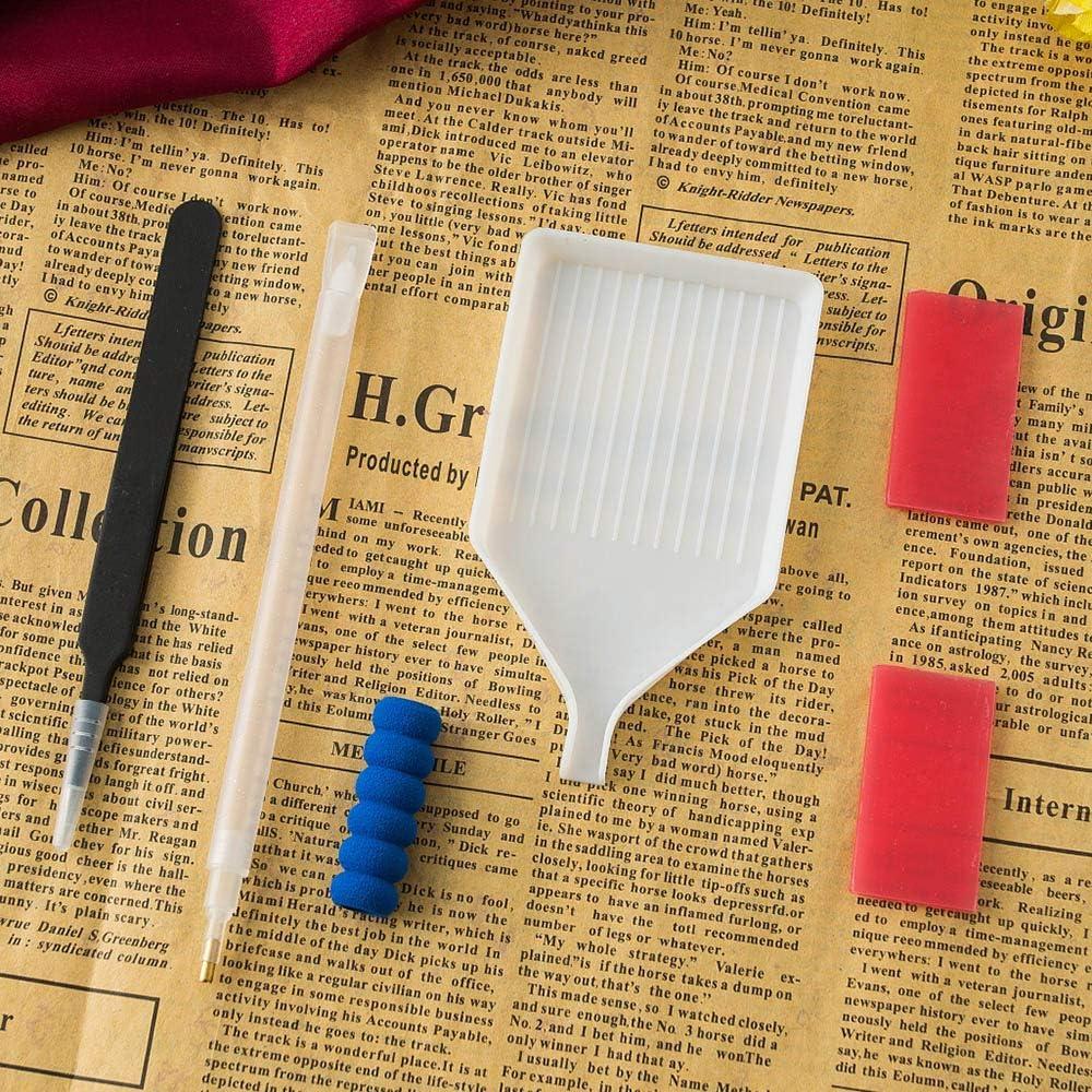 Pinzette Vassoio di Plastica Decdeal 5 PCS//Set DIY Diamond Painting Strumenti Accessori 3D 5D Penna A Punto Croce Colla