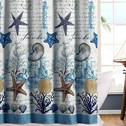 DS BATH Under The Sea Blue Seashell Polyester Fabric Shower CurtainMildew Resistant Curtains