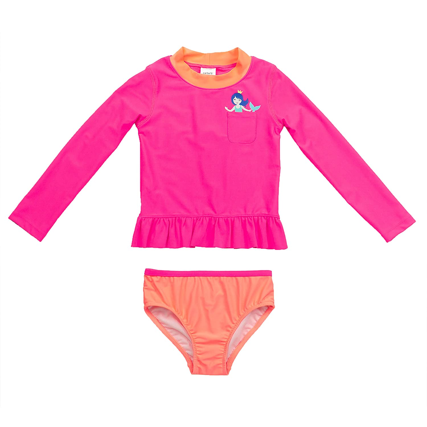 Carter's Baby Girls' Infant Long Sleeve Pocket Mermaid Rash Guard Set, Pink, 12M SC117570