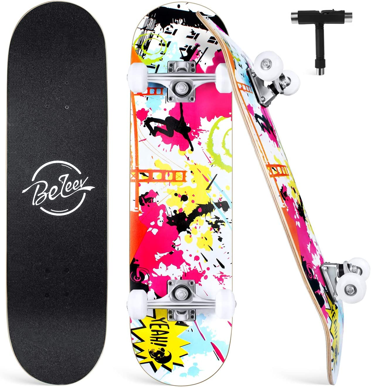 "Beleev Skateboards 31""x8"" Complete Skateboard for Kids"