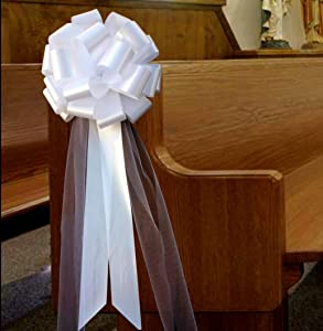 Large White Wedding Pull Bows with Long Tulle Tails - 9