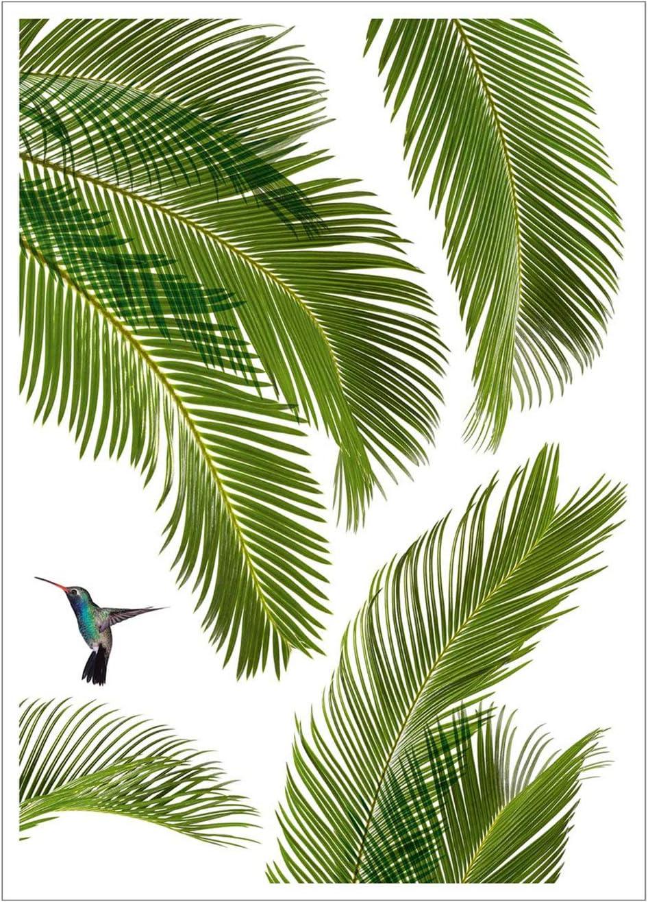 Stickers de Fen/êtres Brise-Vue pour Vitres /Électrostatiques Motif Feuille de Palmier et Oiseaux sans Colle Draeger Repositionnables Vitrines et Surface Lisses