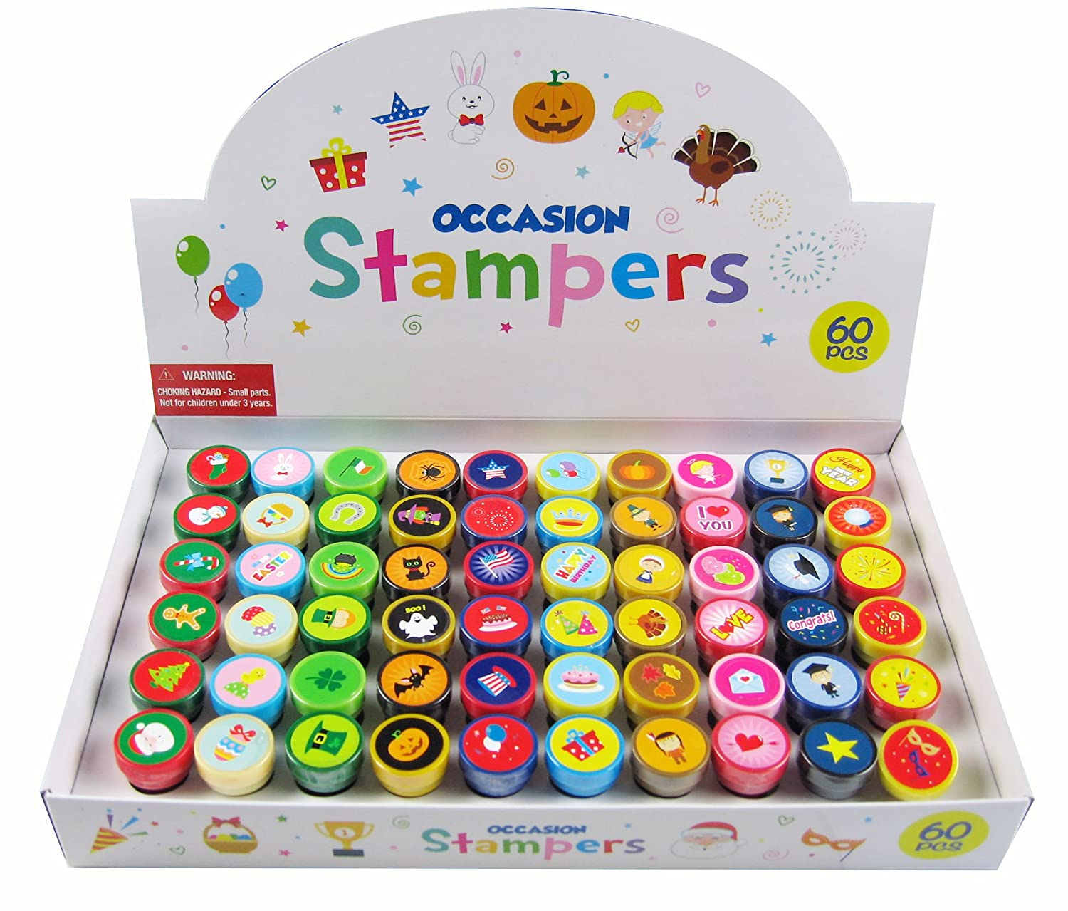 60 Pcs Holidays and Occasions Assorted Stampers for Kids