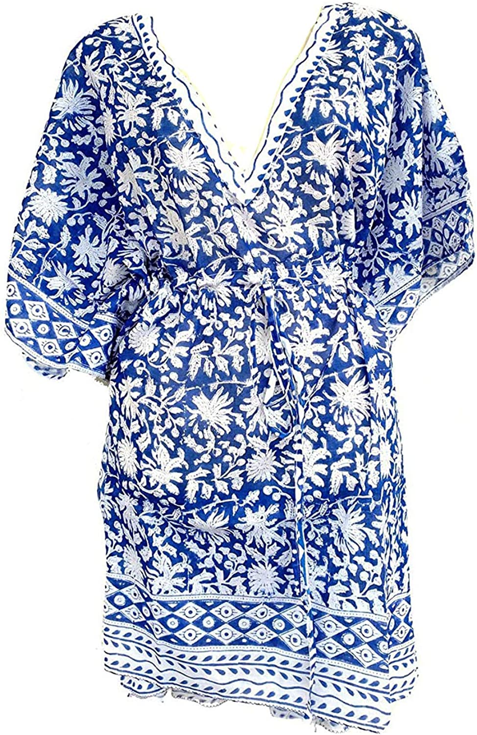 Rastogi Handicrafts 100% Cotton Hand Block Print Swimsuit Cover-up Beach Caftan Women's Print Kaftan 6