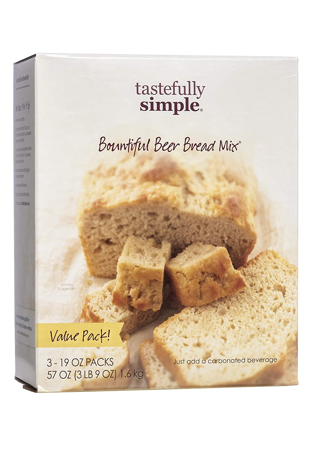 Tastefully Simple Bountiful Beer Bread Mix Value Pack - Just Add Water! - 3 x 19 oz