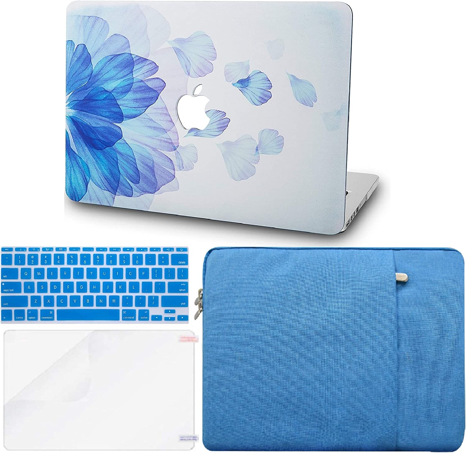 """KECC Laptop Case for MacBook Air 13"""" Retina (2020/2019/2018, Touch ID) w/Keyboard Cover + Sleeve + Screen Protector (4 in 1 Bundle) Plastic Hard Shell Case A1932 (Blue Flower)"""