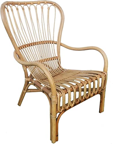 MY SWANKY HOME Retro Vintage Style Wide Back Rattan Arm Chair Wicker Scoop Woven