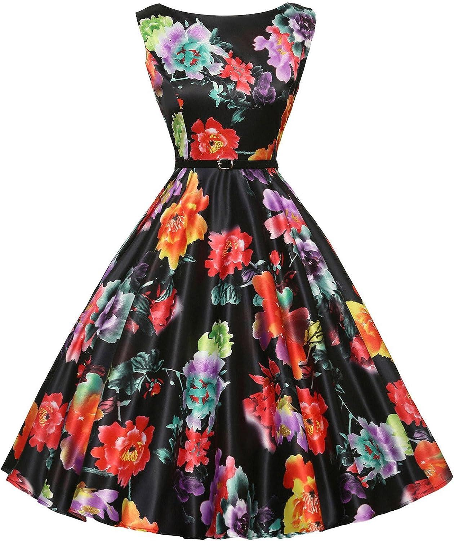 Grace Karin Boatneck Sleeveless Vintage Tea Dress mit Belt