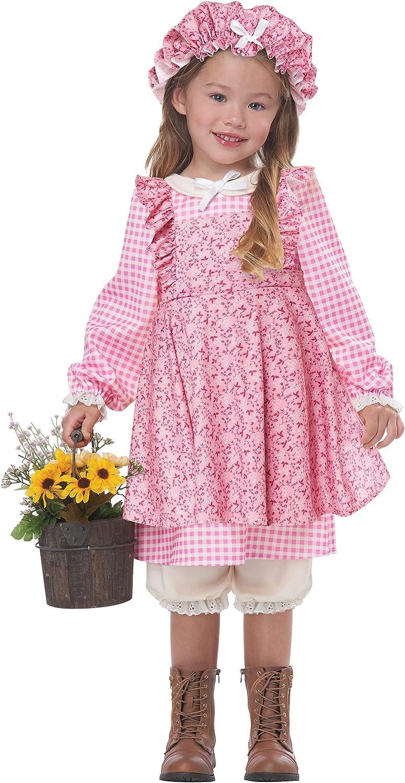 Little Prairie Girl Pink Pioneer Dress Toddler Girls Historical Costume 3T-6