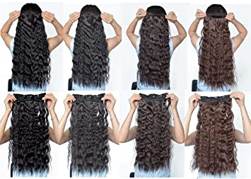 Amazon natural black 22 inches long corn wave curlywavy one natural black 22 inches long corn wave curlywavy one piece clip in hair extensions pmusecretfo Images