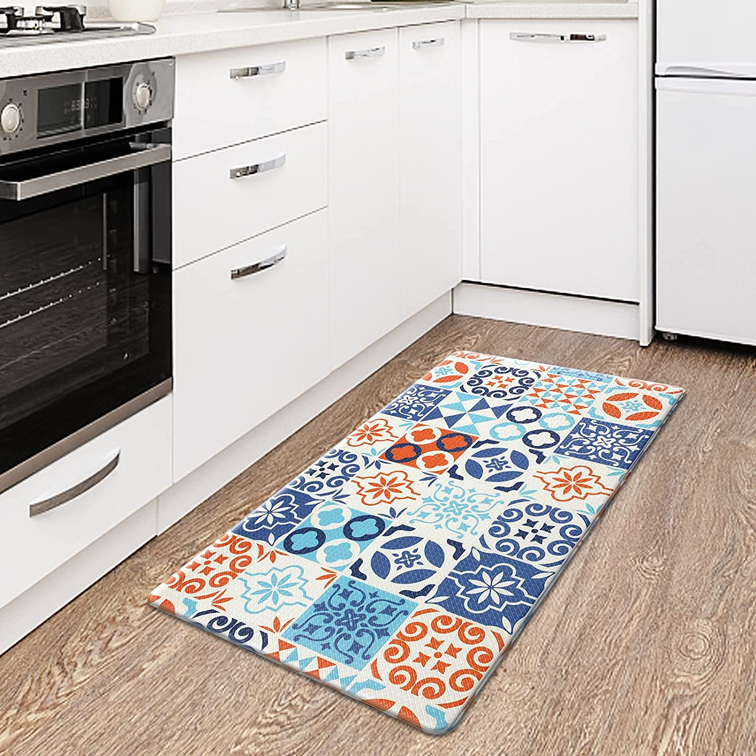 Kitchen Mat,Cushioned Anti-Fatigue Kitchen Mat for Standing, Non Skid Washable Ergonomic Comfort Kitchen Mats and Rugs for Home,Sink,Office,Kitchen(Bohemia)