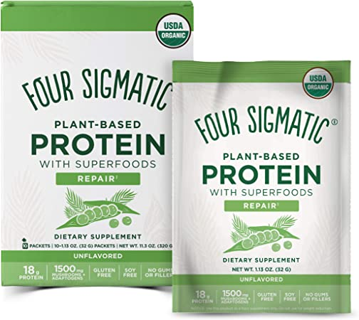 Four Sigmatic Superfood Protein, Organic Plant-Based Protein with Chaga Mushroom & Ashwagandha, Supports Immune Function & Muscle Repair, Portable + Unflavored, 10 Count