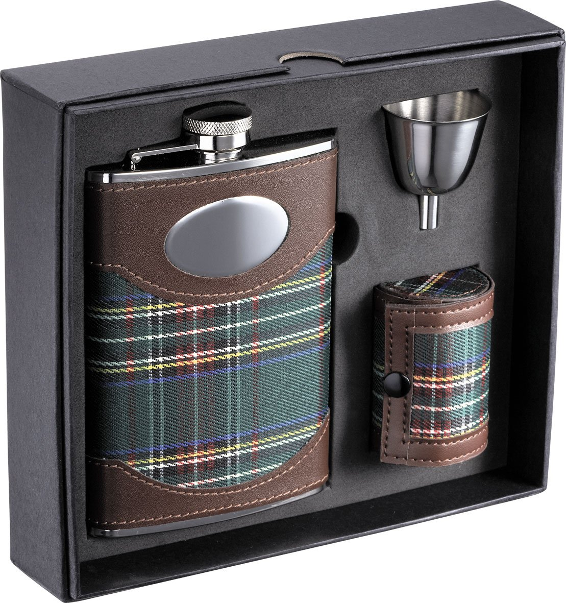 Visol''Edinburgh'' Plaid Cloth Stainless Steel Deluxe Flask Gift Set, 8-Ounce