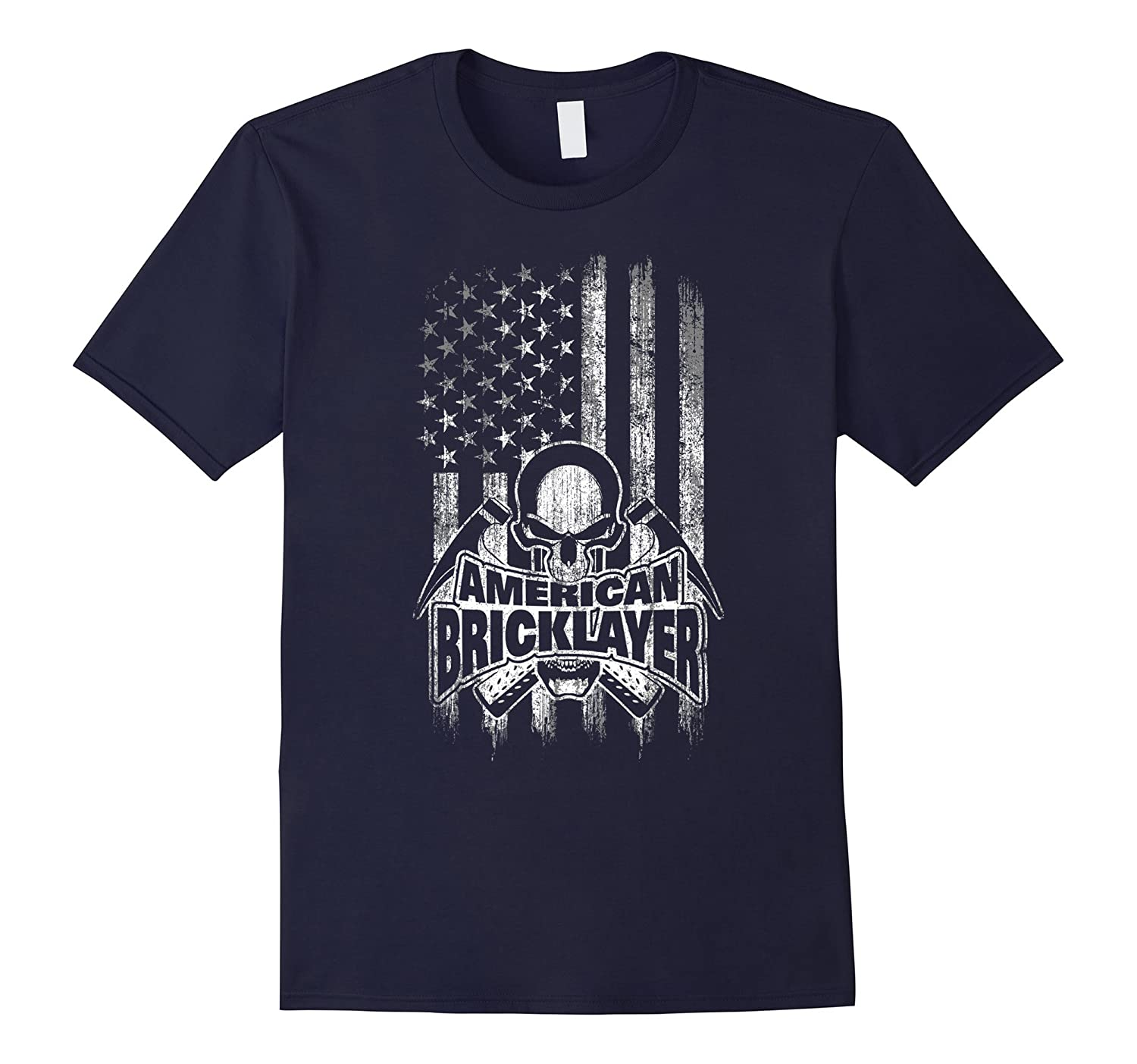 Bricklayer T-Shirt American with Flag Skull and Hammers-TD