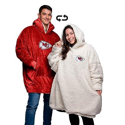 online retailer f6b12 aaedf FOCO NFL Unisex Reversible Oversized Sherpa Hoodie Sweatshirt Big Logo  Hoodeez